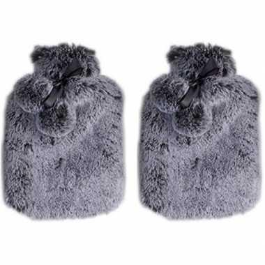 Rubberen 2x heet kruiken met pluche hoes 2 liter graniet grijs
