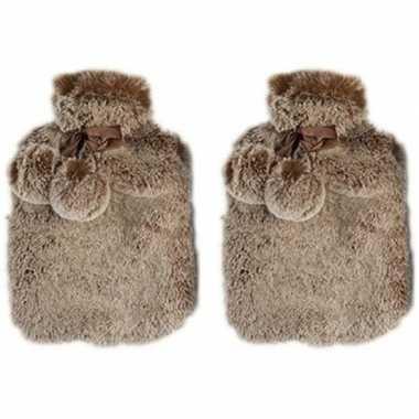 Rubberen 2x heet kruiken met pluche hoes 2 liter terra bruin