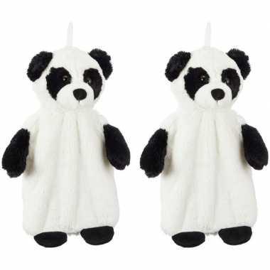 Rubberen 2x pluche warm kruiken pandabeer