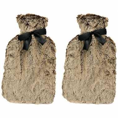 Rubberen 2x warm/heet kruiken met bruin bont 1,5 liter