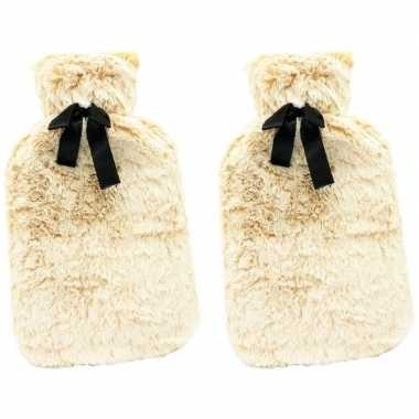 Rubberen 2x warm/heet kruiken met cr?me gekleurd bont 1,5 liter