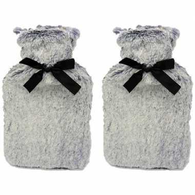 Rubberen 2x warm/heet kruiken met grijs bont 1,5 liter