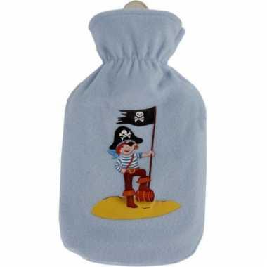Rubberen blauwe kruik met hoes piraat