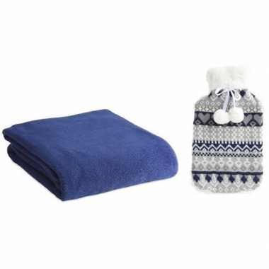 Rubberen giftset winter warm kruik met fleece deken blauw