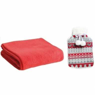 Rubberen giftset winter warm kruik met fleece deken rood