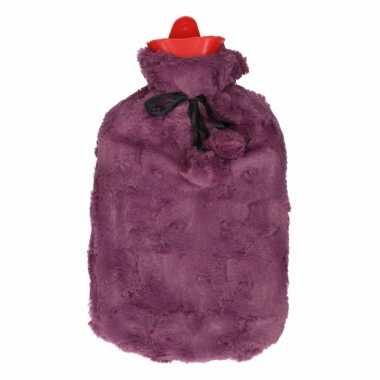 Rubberen heet kruik 2 liter met pluche hoes paars