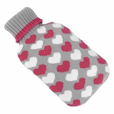 Rubberen heet kruik met hartjes patroon 2 liter