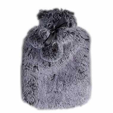 Rubberen heet kruik met pluche hoes 2 liter graniet grijs