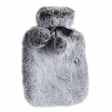 Rubberen heet kruik met pluche hoes 2 liter zilver grijs