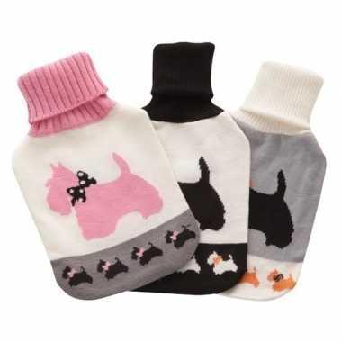 Rubberen heet kruik metwit/roze honden hoes 2 liter