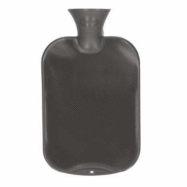 Rubberen kruik antraciet grijs 2 liter
