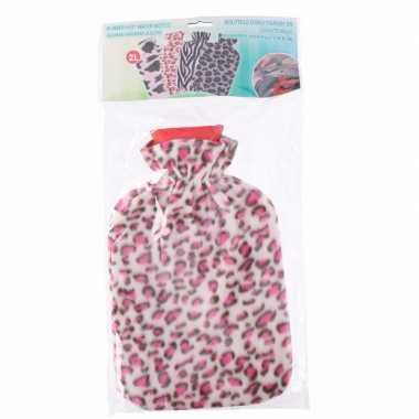 Rubberen kruik met luipaard print hoes roze 2 liter