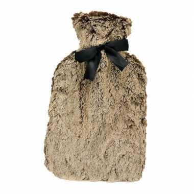 Rubberen warm kruik met bruin bont 1,5 liter