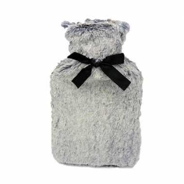 Rubberen warm kruik met grijs bont 1,5 liter