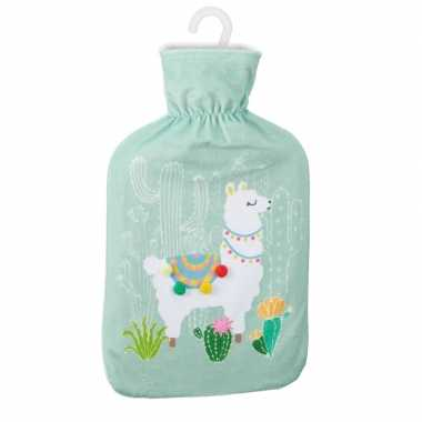 Rubberen warmkruik met lama/alpaca print mintgroen 2 liter