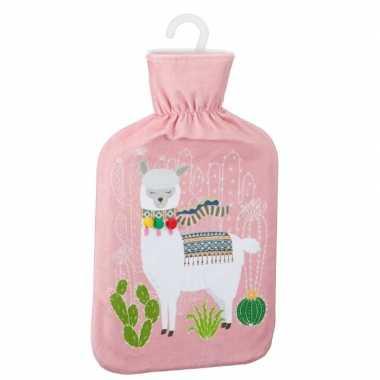 Rubberen warmkruik met lama/alpaca print roze 2 liter