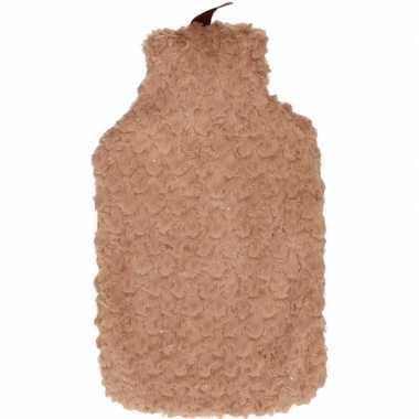 Rubberen winter kruik met bruine pluche hoes 2 liter