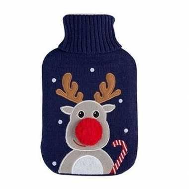 Rubberen winter kruik met kerst rendier blauwe hoes 2 liter