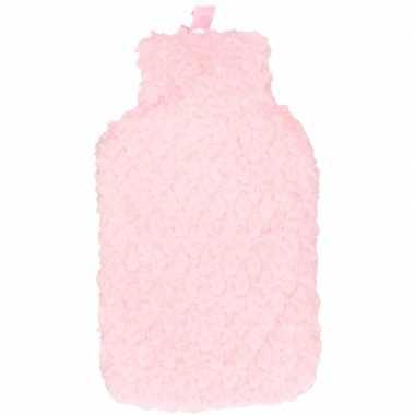 Rubberen winter kruik met roze pluche hoes 2 liter