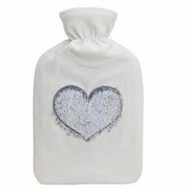Rubberen winter kruik met witte fleece hoes en hart 2 liter