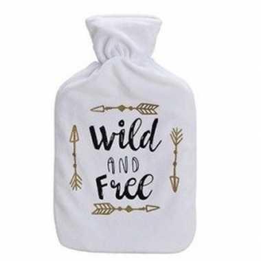 Rubberen winter kruik met witte fleecehoes en tekst wild 1 liter