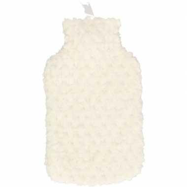 Rubberen winter kruik met witte pluche hoes 2 liter