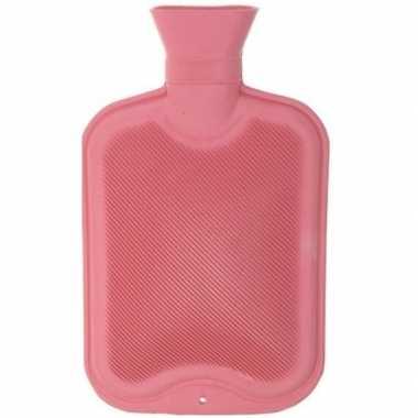 Rubberen winter kruik roze 2 liter
