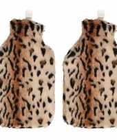 Rubberen 2x kruiken 2 liter met cheetah hoes