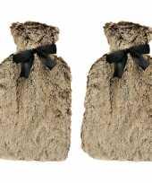 Rubberen 2x warm heet kruiken met bruin bont 1 5 liter